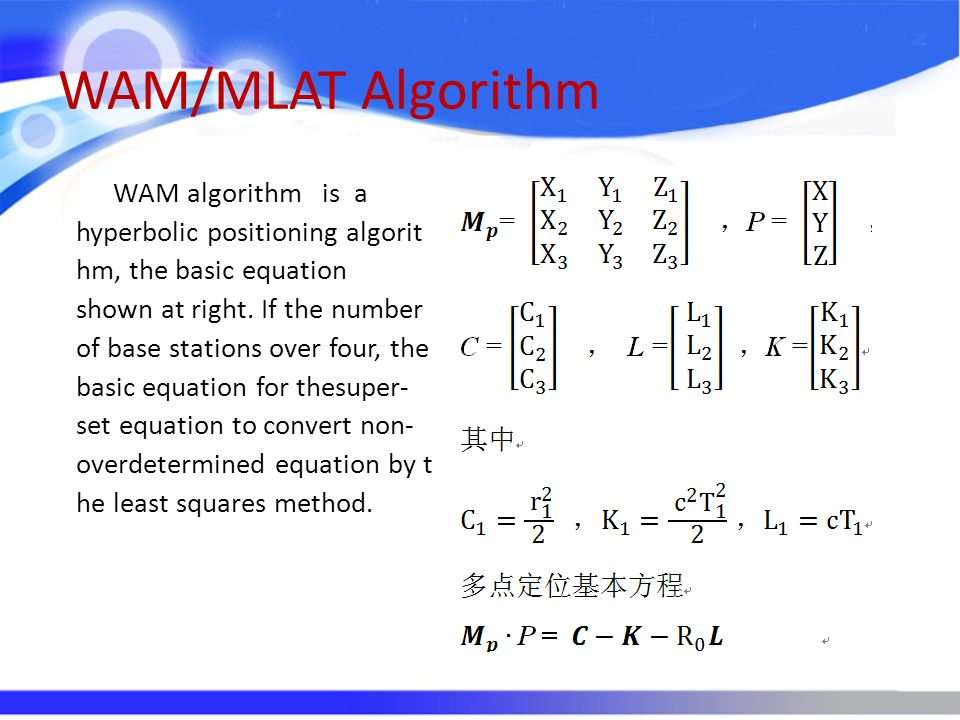 WAM/MLAT Algorithm Theoretical derivation can be drawn, multi-point positioning precision and accuracy of time difference relationship for the approximate linear relation, matrix G directly influences the positioning precision, while the matrix G by the site location and positioning point position is decided jointly.