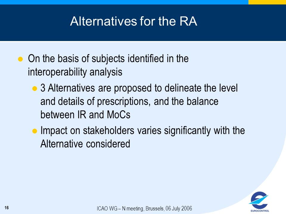 16 ICAO WG – N meeting, Brussels, 06 July 2006 Alternatives for the RA On the basis of subjects identified in the interoperability analysis 3 Alternat