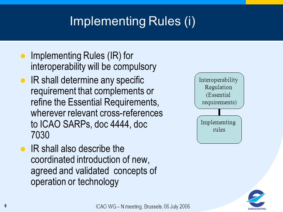 6 ICAO WG – N meeting, Brussels, 06 July 2006 Implementing Rules (i) Implementing Rules (IR) for interoperability will be compulsory IR shall determin