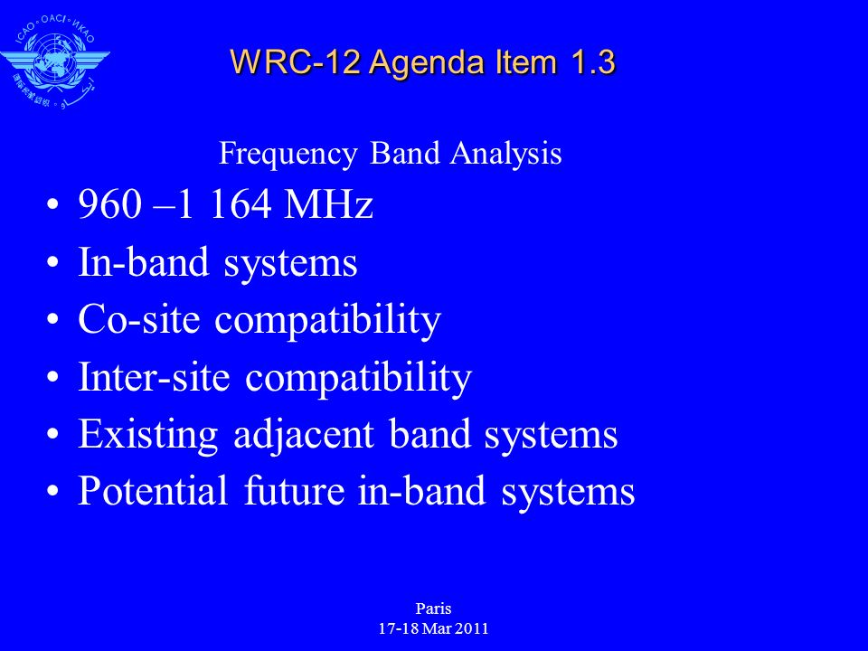 Paris 17-18 Mar 2011 WRC-12 Agenda Item 1.3 Frequency Band Analysis 960 –1 164 MHz In-band systems Co-site compatibility Inter-site compatibility Existing adjacent band systems Potential future in-band systems