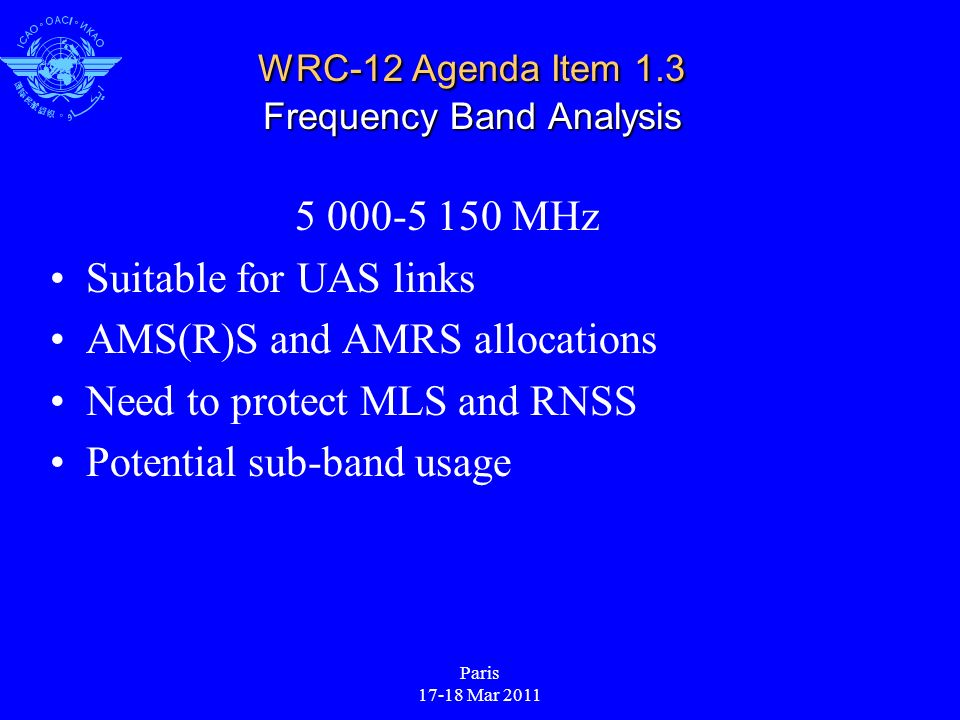 Paris 17-18 Mar 2011 WRC-12 Agenda Item 1.3 Frequency Band Analysis 5 000-5 150 MHz Suitable for UAS links AMS(R)S and AMRS allocations Need to protec