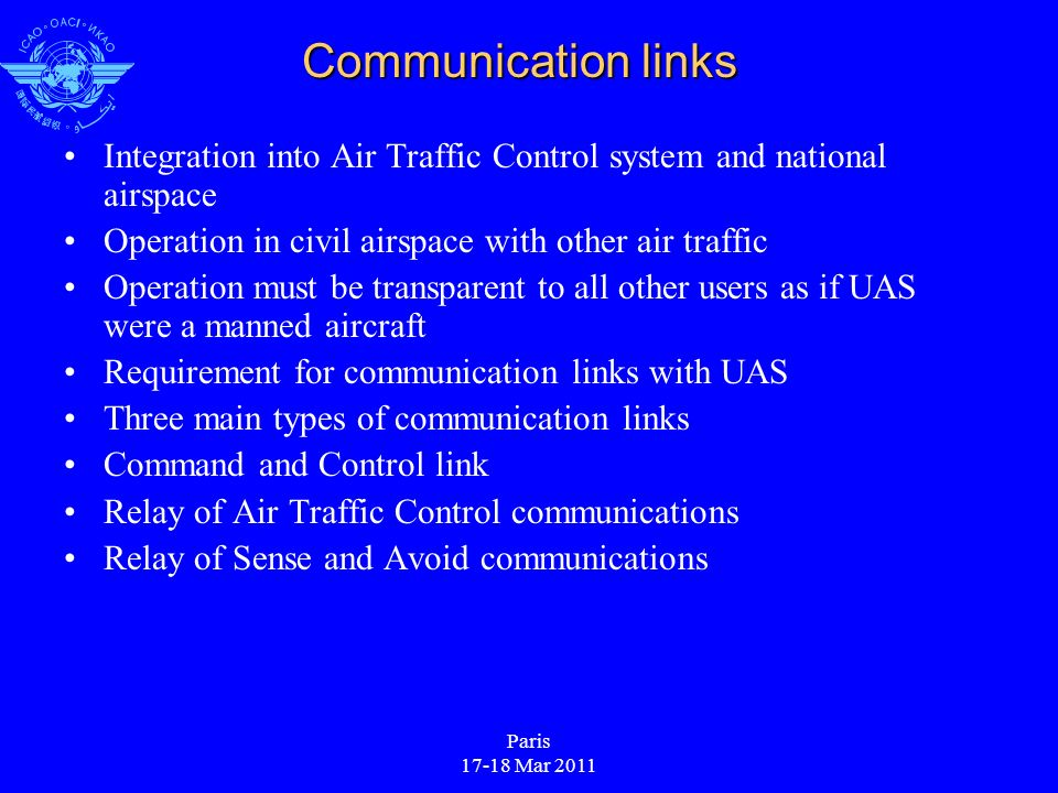Paris 17-18 Mar 2011 Communication links Integration into Air Traffic Control system and national airspace Operation in civil airspace with other air