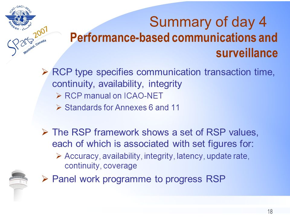 18 Performance-based communications and surveillance RCP type specifies communication transaction time, continuity, availability, integrity RCP manual on ICAO-NET Standards for Annexes 6 and 11 The RSP framework shows a set of RSP values, each of which is associated with set figures for: Accuracy, availability, integrity, latency, update rate, continuity, coverage Panel work programme to progress RSP Summary of day 4