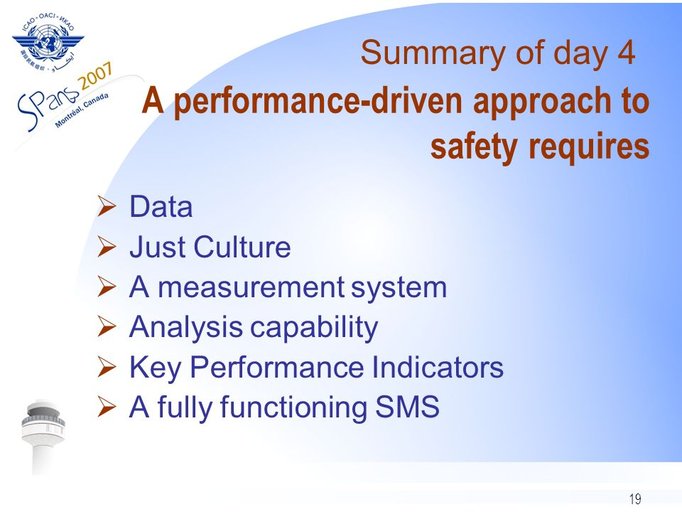 19 A performance-driven approach to safety requires Data Just Culture A measurement system Analysis capability Key Performance Indicators A fully functioning SMS Summary of day 4