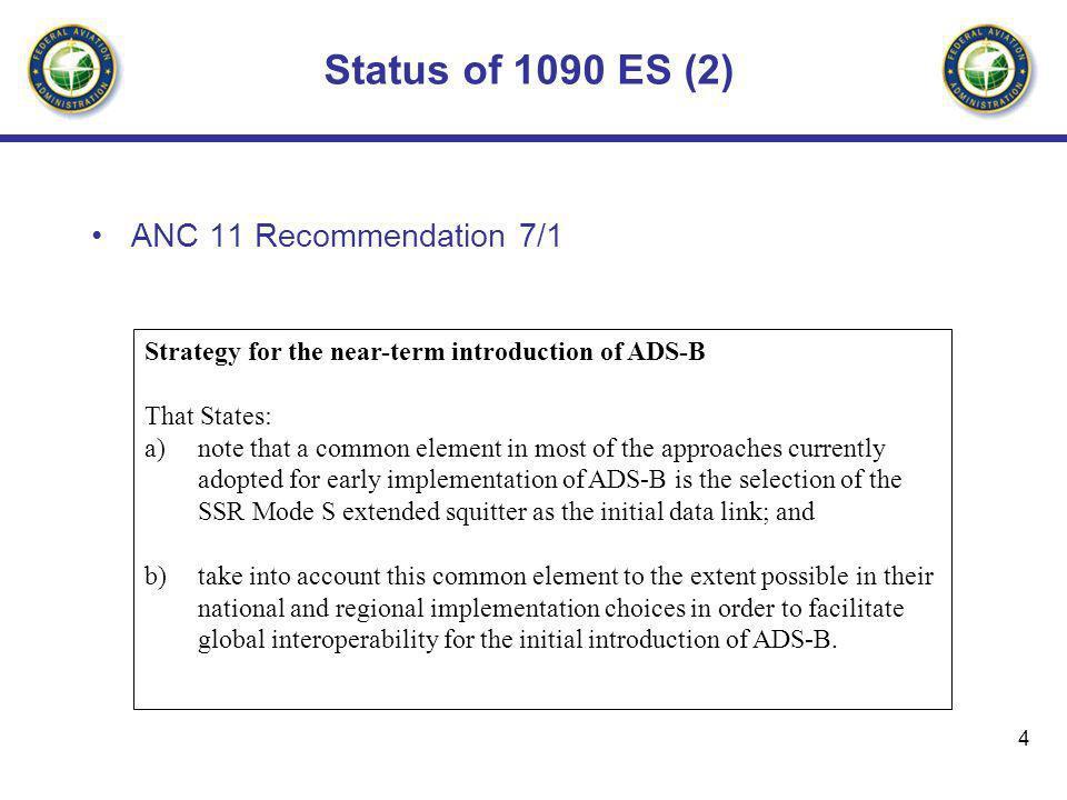4 Status of 1090 ES (2) ANC 11 Recommendation 7/1 Strategy for the near-term introduction of ADS-B That States: a)note that a common element in most o