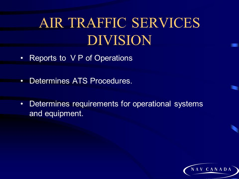 AIR TRAFFIC SERVICES DIVISION Reports to V P of Operations Determines ATS Procedures.