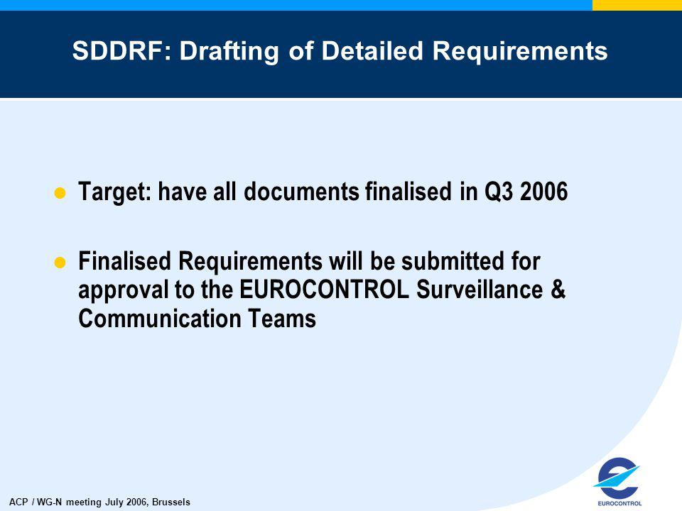 ACP / WG-N meeting July 2006, Brussels Target: have all documents finalised in Q3 2006 Finalised Requirements will be submitted for approval to the EUROCONTROL Surveillance & Communication Teams SDDRF: Drafting of Detailed Requirements