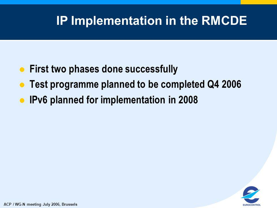 ACP / WG-N meeting July 2006, Brussels First two phases done successfully Test programme planned to be completed Q4 2006 IPv6 planned for implementati