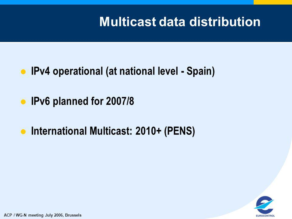 ACP / WG-N meeting July 2006, Brussels IPv4 operational (at national level - Spain) IPv6 planned for 2007/8 International Multicast: 2010+ (PENS) Multicast data distribution