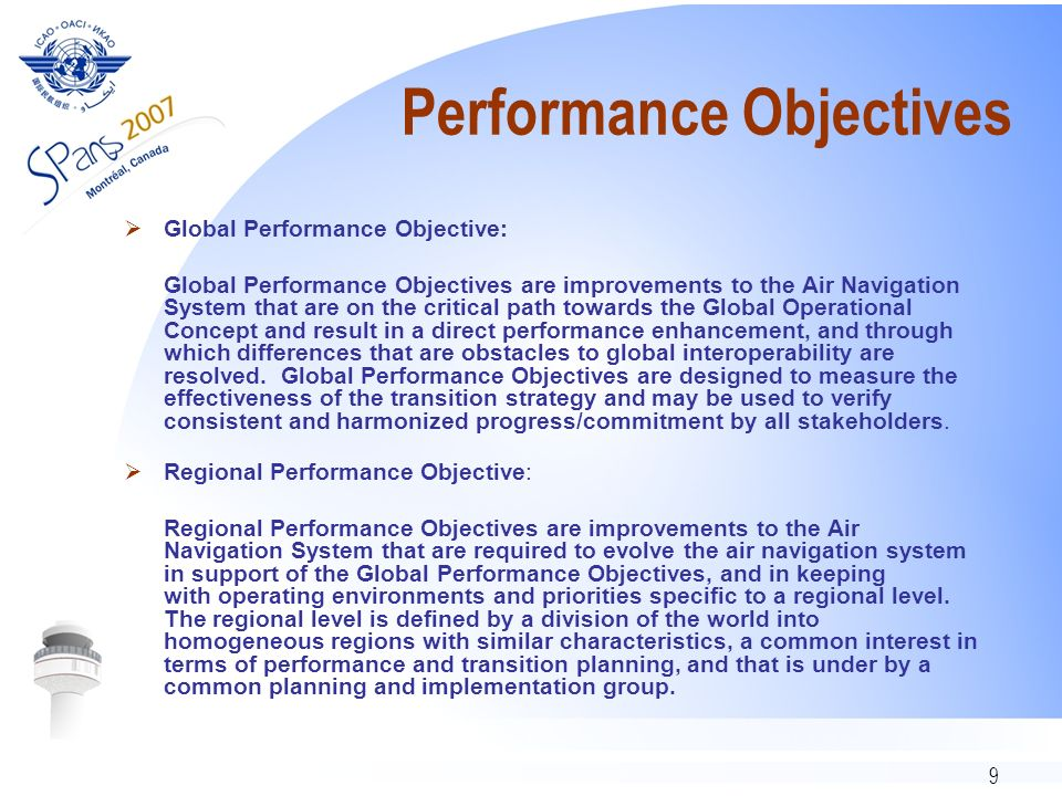 9 Performance Objectives Global Performance Objective: Global Performance Objectives are improvements to the Air Navigation System that are on the cri
