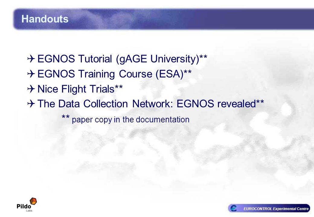 EUROCONTROL Experimental Centre Handouts EGNOS Tutorial (gAGE University)** EGNOS Training Course (ESA)** Nice Flight Trials** The Data Collection Net