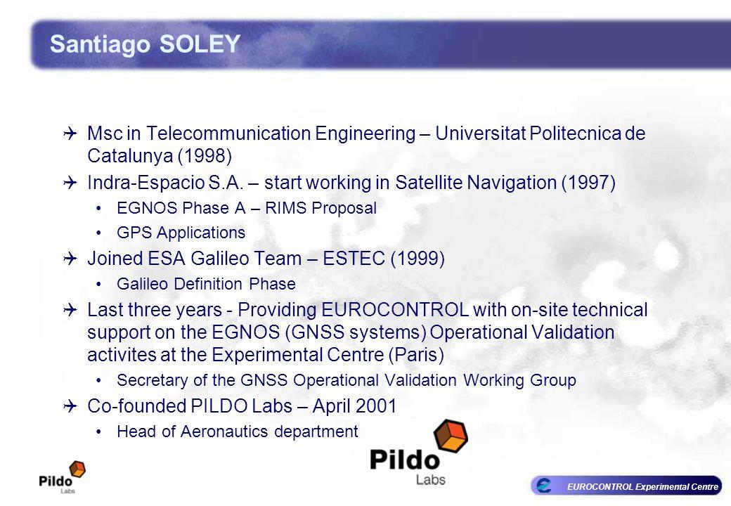 EUROCONTROL Experimental Centre Santiago SOLEY Msc in Telecommunication Engineering – Universitat Politecnica de Catalunya (1998) Indra-Espacio S.A. –