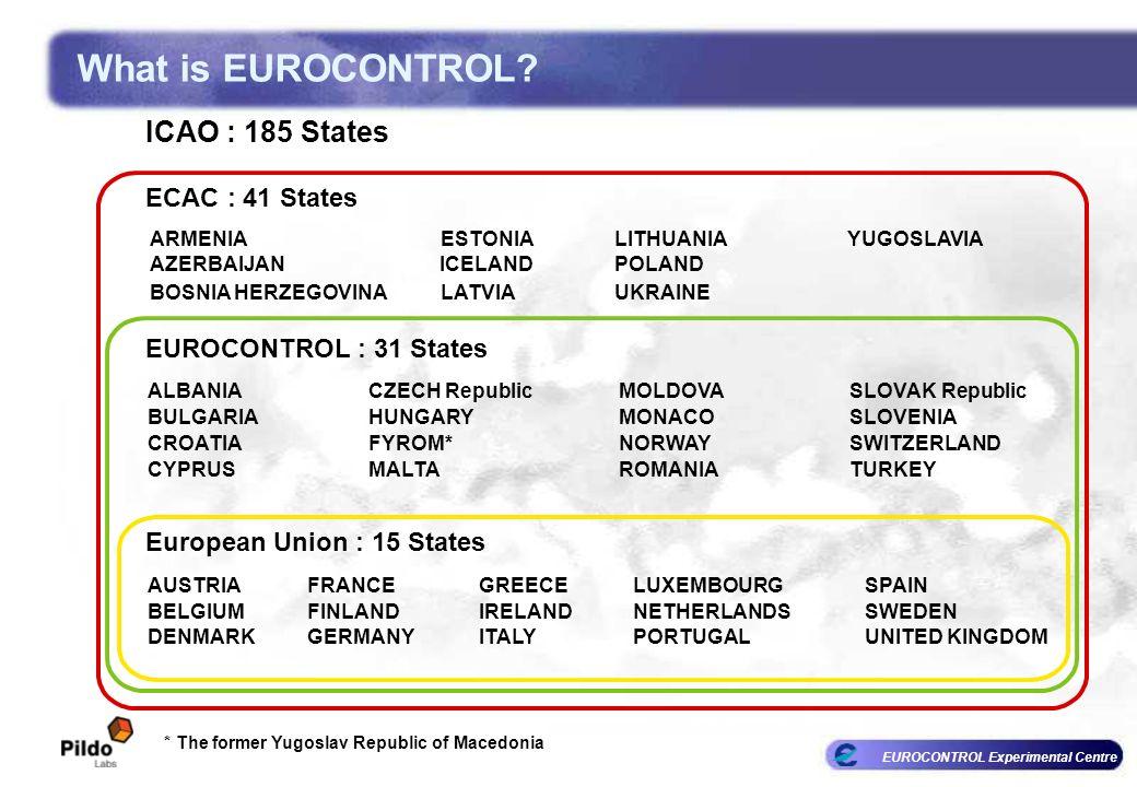 EUROCONTROL Experimental Centre * The former Yugoslav Republic of Macedonia ARMENIA AZERBAIJAN ESTONIA ICELAND ECAC : 41 States EUROCONTROL : 31 State