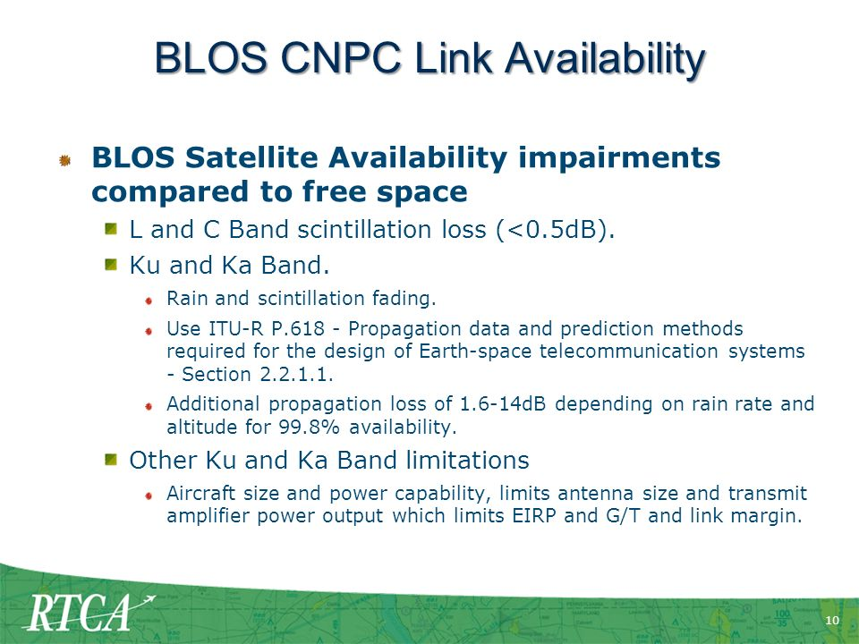 10 BLOS CNPC Link Availability BLOS Satellite Availability impairments compared to free space L and C Band scintillation loss (<0.5dB).