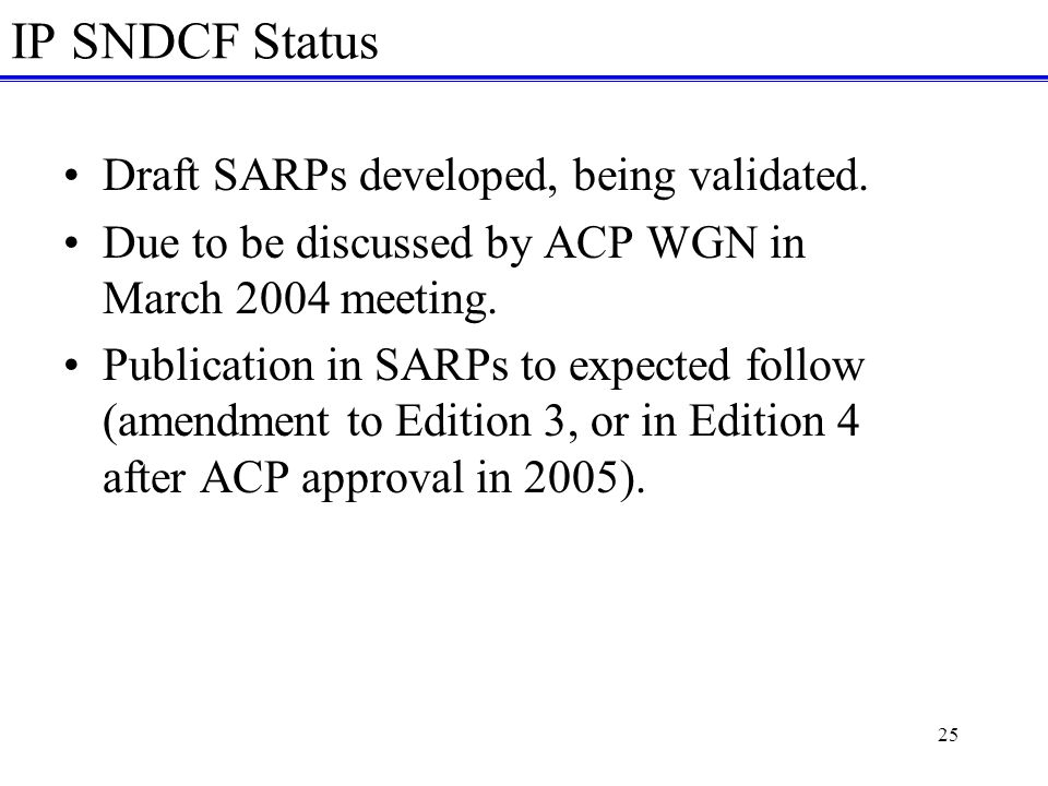 25 IP SNDCF Status Draft SARPs developed, being validated.