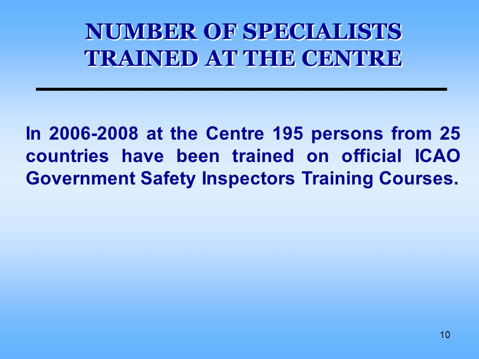10 NUMBER OF SPECIALISTS TRAINED AT THE CENTRE In 2006-2008 at the Centre 195 persons from 25 countries have been trained on official ICAO Government