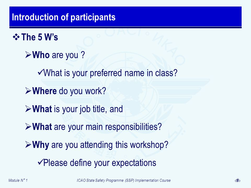 Module N° 1ICAO State Safety Programme (SSP) Implementation Course 5 The 5 Ws Who are you .
