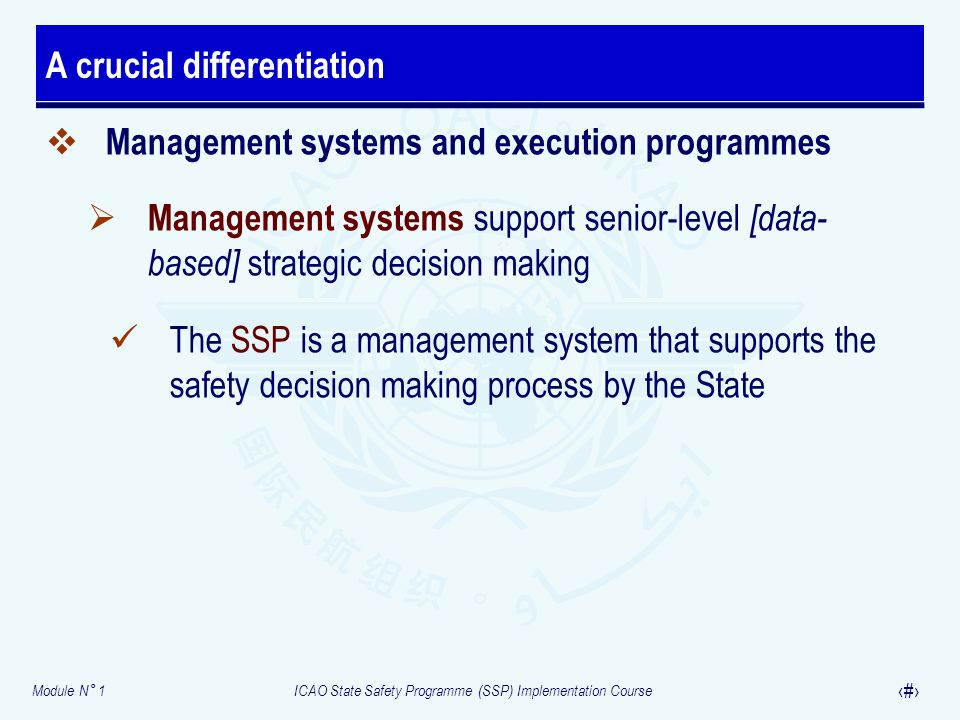 Module N° 1ICAO State Safety Programme (SSP) Implementation Course 9 Management systems and execution programmes Management systems support senior-level [data- based] strategic decision making The SSP is a management system that supports the safety decision making process by the State A crucial differentiation