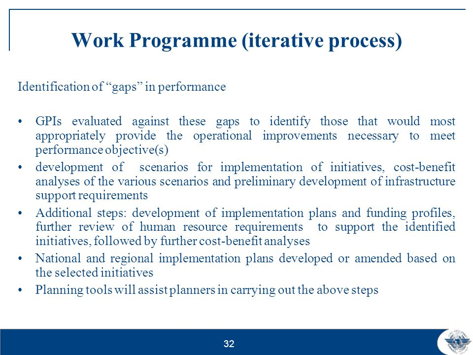 32 Work Programme (iterative process) Identification of gaps in performance GPIs evaluated against these gaps to identify those that would most approp
