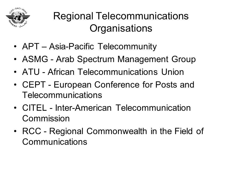 Regional Telecommunications Organisations APT – Asia-Pacific Telecommunity ASMG - Arab Spectrum Management Group ATU - African Telecommunications Unio
