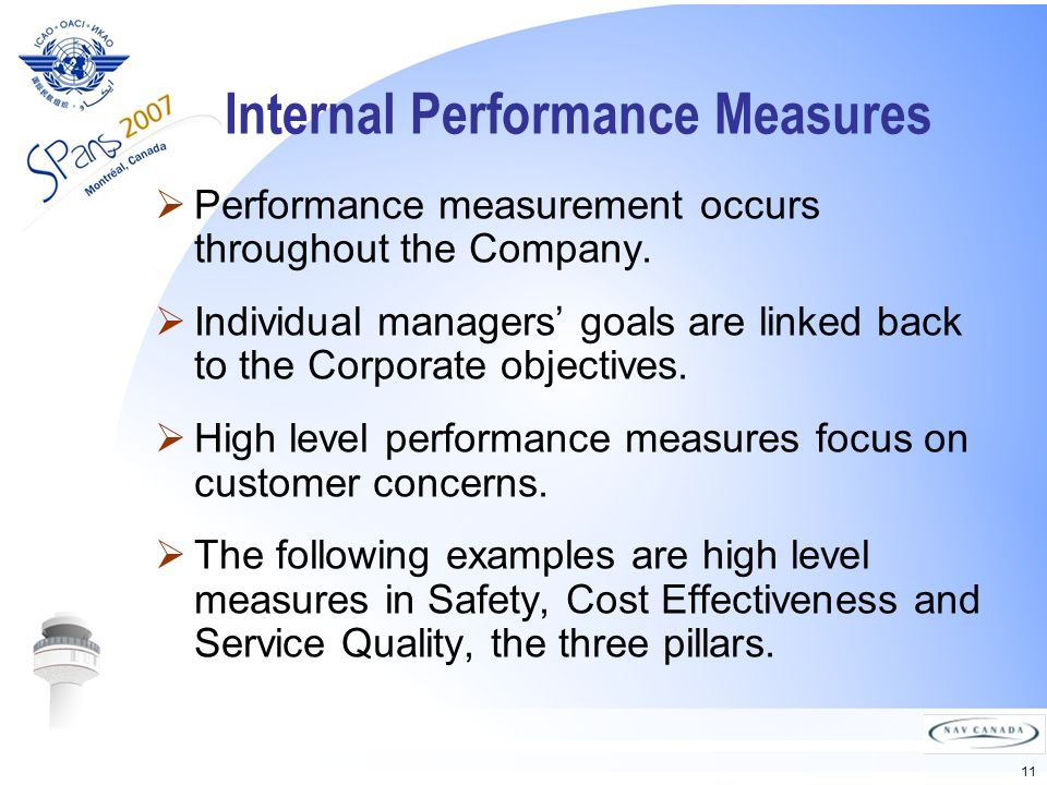 11 Internal Performance Measures Performance measurement occurs throughout the Company.