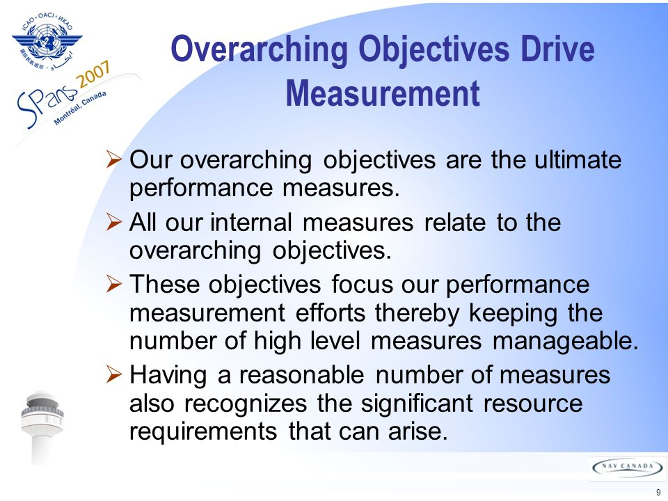 9 Overarching Objectives Drive Measurement Our overarching objectives are the ultimate performance measures.