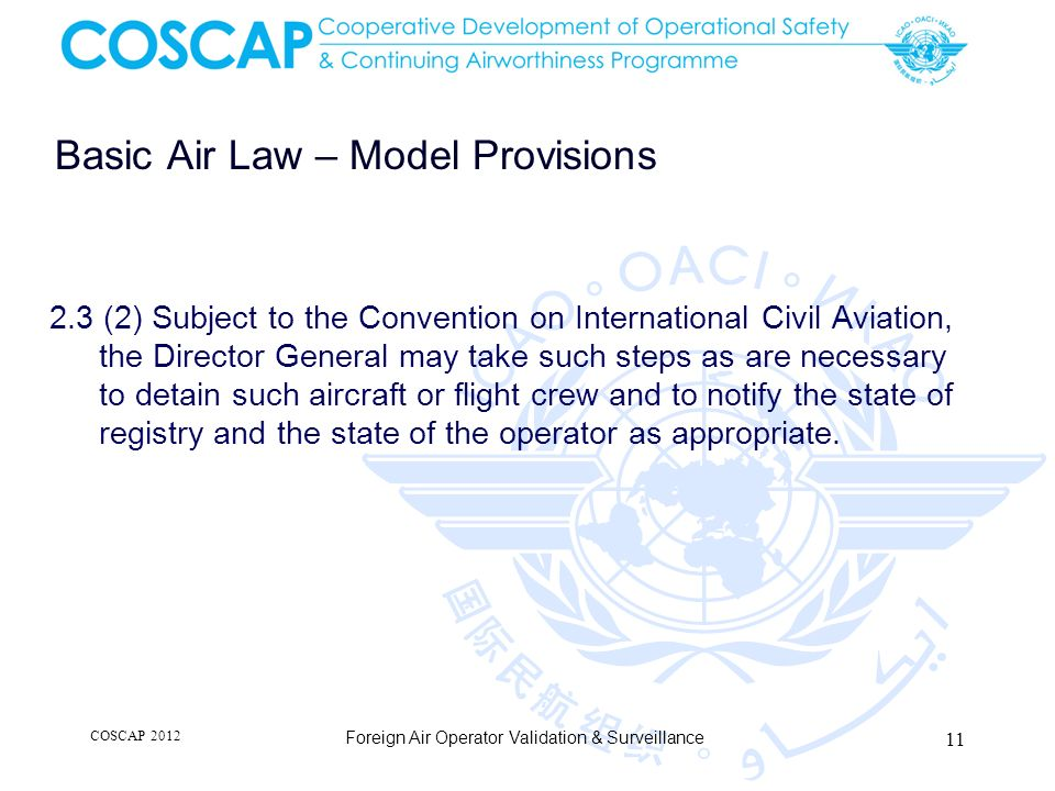 Basic Air Law – Model Provisions 2.3 (2) Subject to the Convention on International Civil Aviation, the Director General may take such steps as are ne