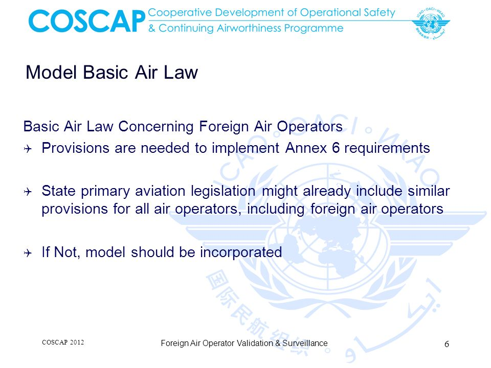 Model Basic Air Law Basic Air Law Concerning Foreign Air Operators Provisions are needed to implement Annex 6 requirements State primary aviation legi
