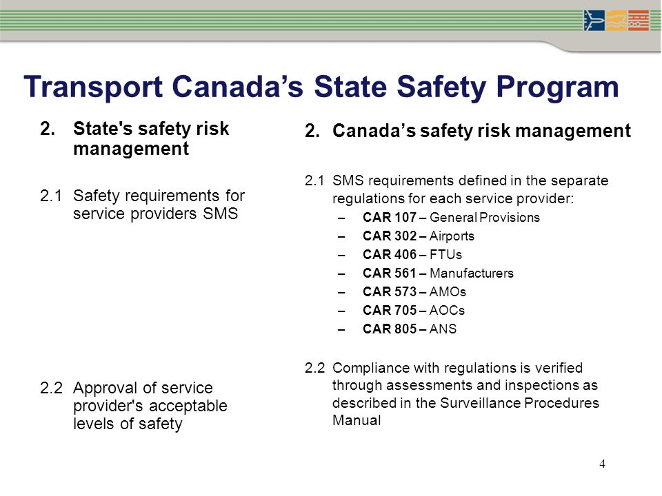 4 2.State's safety risk management 2.1Safety requirements for service providers SMS 2.2Approval of service provider's acceptable levels of safety 2.Ca