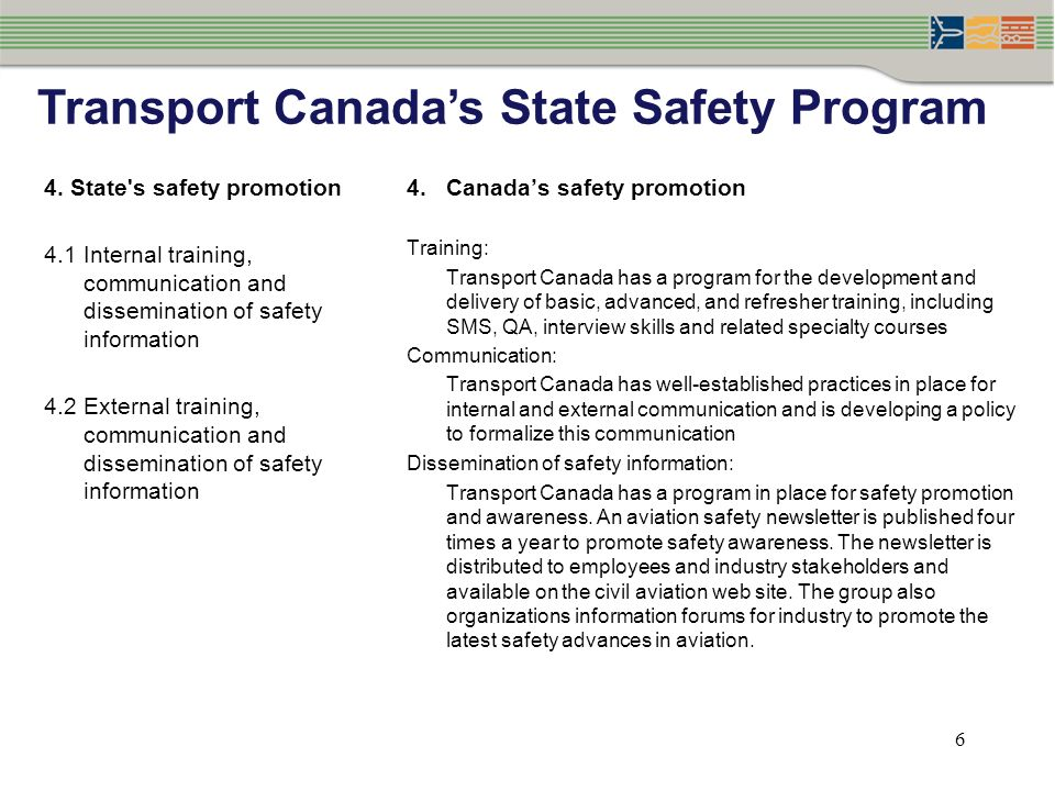 6 4. State's safety promotion 4.1Internal training, communication and dissemination of safety information 4.2External training, communication and diss