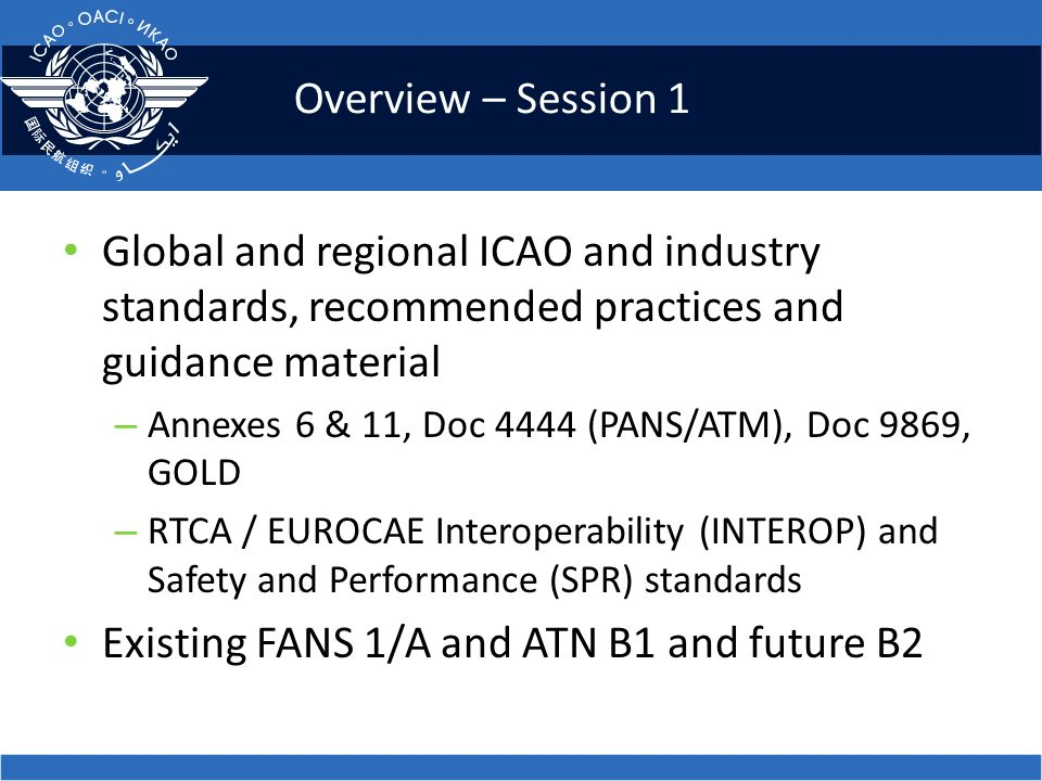 Overview – Session 1 Global and regional ICAO and industry standards, recommended practices and guidance material – Annexes 6 & 11, Doc 4444 (PANS/ATM