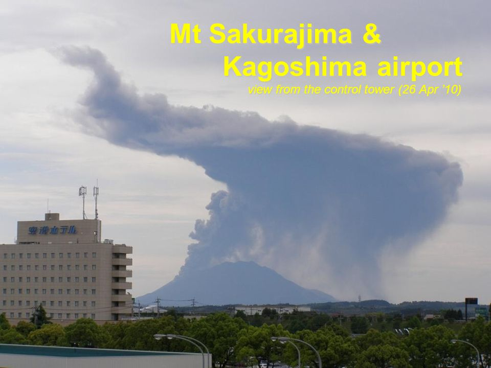 Kagoshima Airport Mt Sakurajima Location of Kagoshima airport & Mt Sakurajima Distance ; 25 km Direction 200 VOR/DME Final approach fix at 3,100ft ILS R/W 34 Final approach fix at 3,100 ft