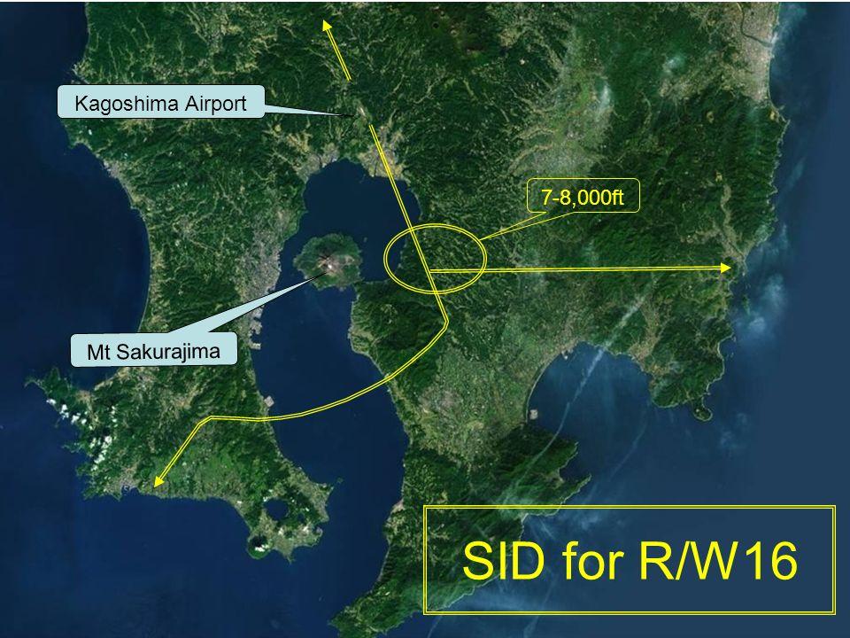 SID for R/W16 Kagoshima Airport Mt Sakurajima 7-8,000ft