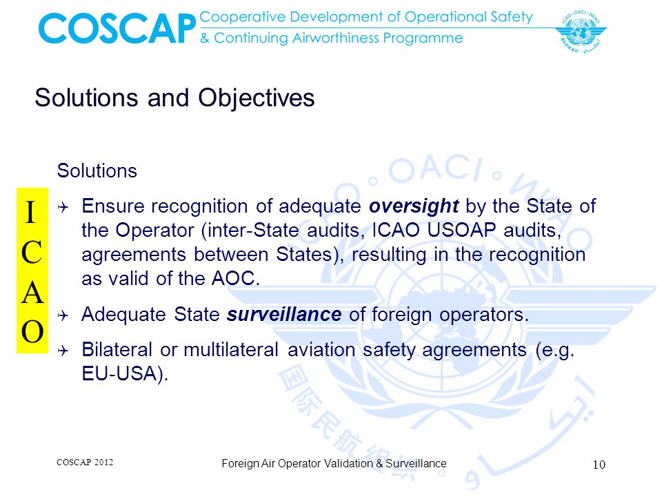 Solutions and Objectives Solutions Ensure recognition of adequate oversight by the State of the Operator (inter-State audits, ICAO USOAP audits, agreements between States), resulting in the recognition as valid of the AOC.
