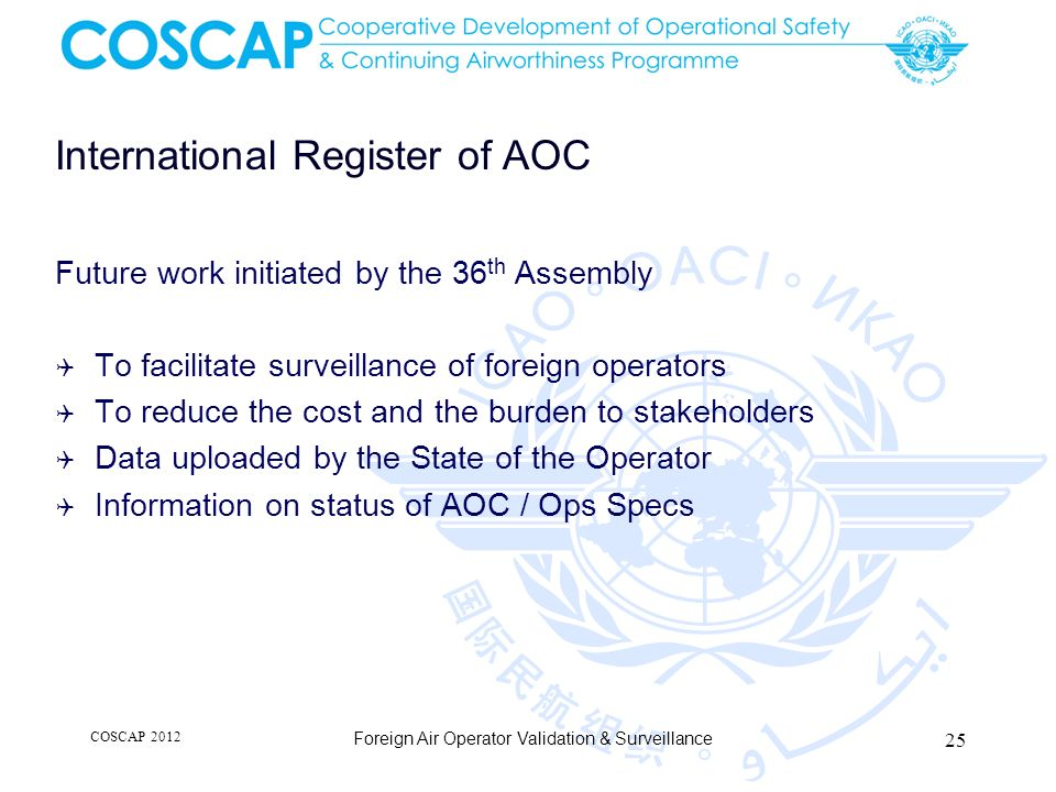 International Register of AOC Future work initiated by the 36 th Assembly To facilitate surveillance of foreign operators To reduce the cost and the b
