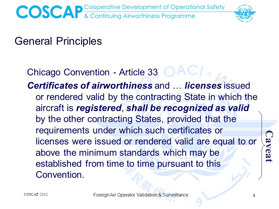 International Register of AOC Future work initiated by the 36 th Assembly To facilitate surveillance of foreign operators To reduce the cost and the burden to stakeholders Data uploaded by the State of the Operator Information on status of AOC / Ops Specs COSCAP 2012 Foreign Air Operator Validation & Surveillance 25