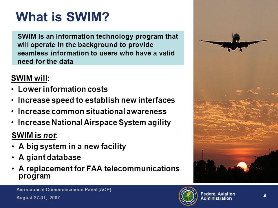 Aeronautical Communications Panel (ACP) August 27-31, 2007 4 What is SWIM.