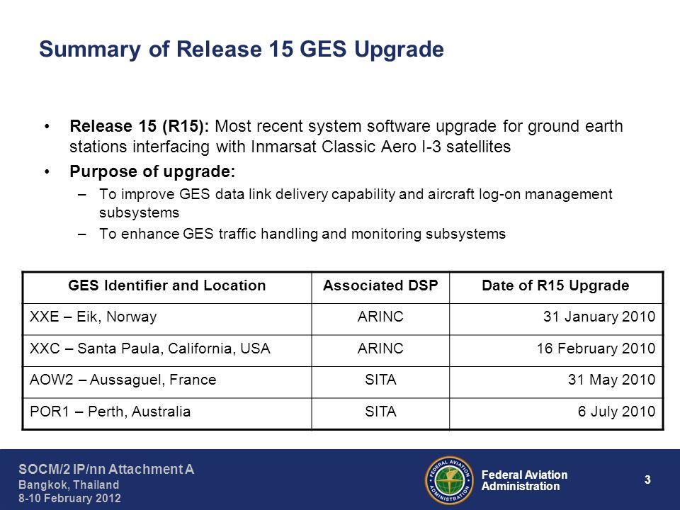 4 Federal Aviation Administration SOCM/2 IP/nn Attachment A Bangkok, Thailand 8-10 February 2012 Data Link Performance Comparison for Eik GES (XXE)