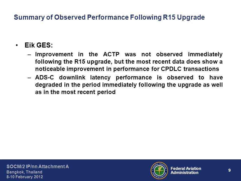 9 Federal Aviation Administration SOCM/2 IP/nn Attachment A Bangkok, Thailand 8-10 February 2012 Summary of Observed Performance Following R15 Upgrade Eik GES: –Improvement in the ACTP was not observed immediately following the R15 upgrade, but the most recent data does show a noticeable improvement in performance for CPDLC transactions –ADS-C downlink latency performance is observed to have degraded in the period immediately following the upgrade as well as in the most recent period