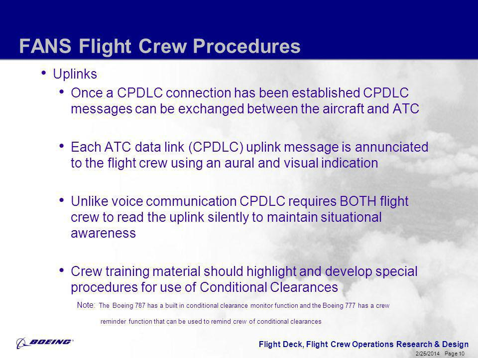 Flight Deck, Flight Crew Operations Research & Design Page 10 2/25/2014 FANS Flight Crew Procedures Uplinks Once a CPDLC connection has been establish
