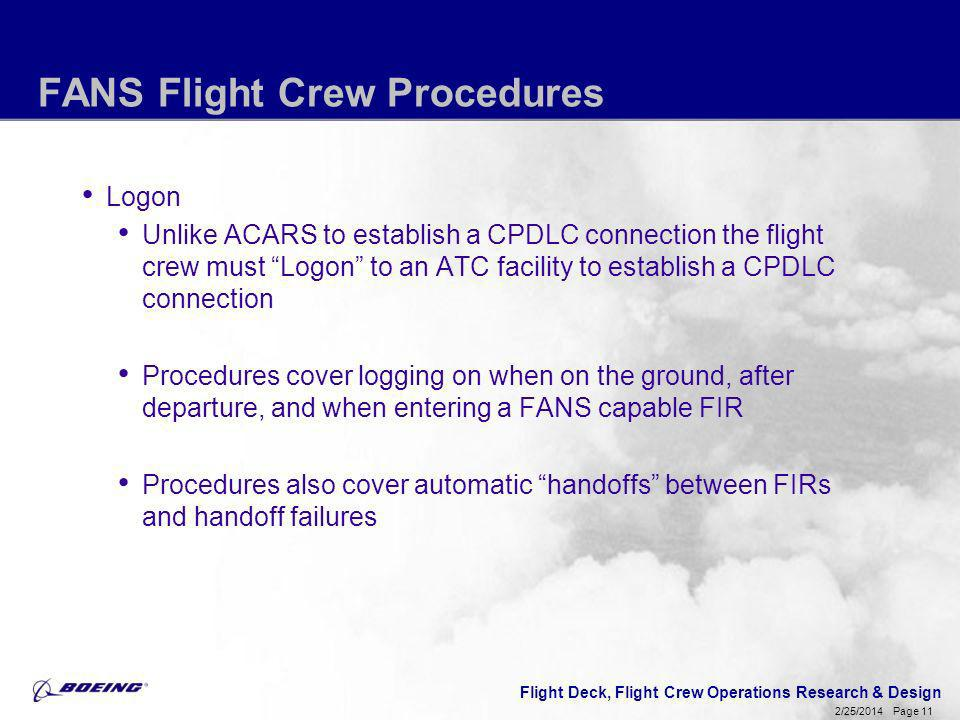 Flight Deck, Flight Crew Operations Research & Design Page 11 2/25/2014 FANS Flight Crew Procedures Logon Unlike ACARS to establish a CPDLC connection