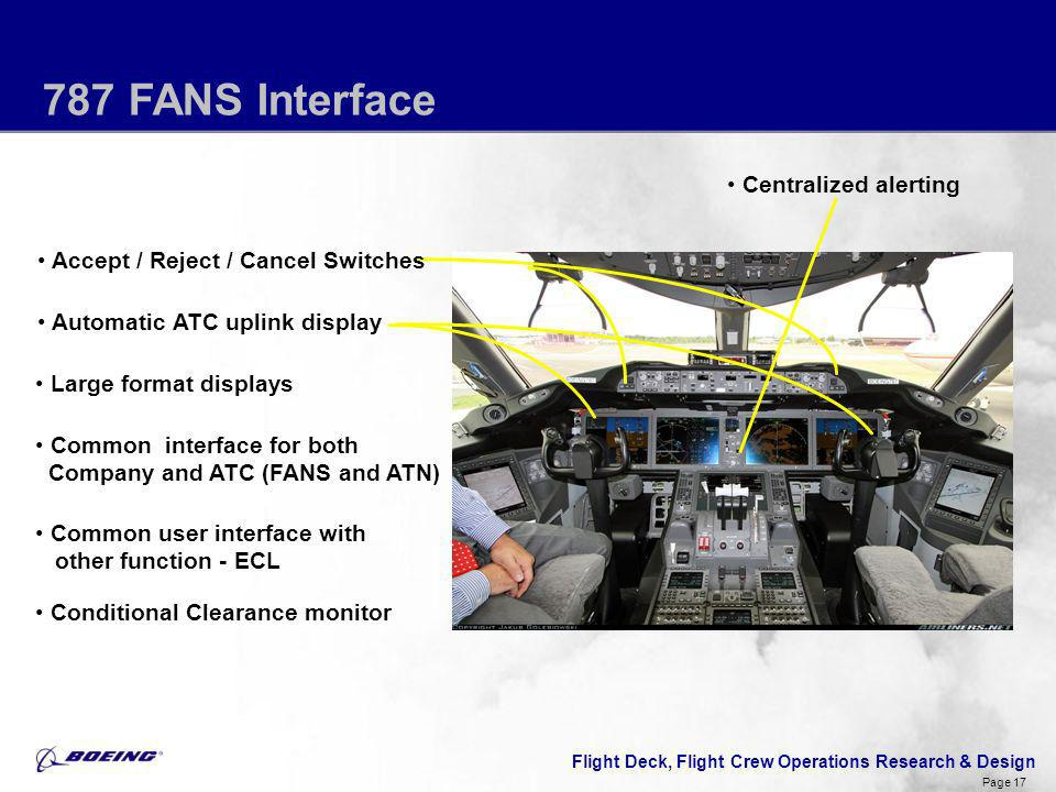 Flight Deck, Flight Crew Operations Research & Design Page 17 787 FANS Interface Large format displays Common interface for both Company and ATC (FANS