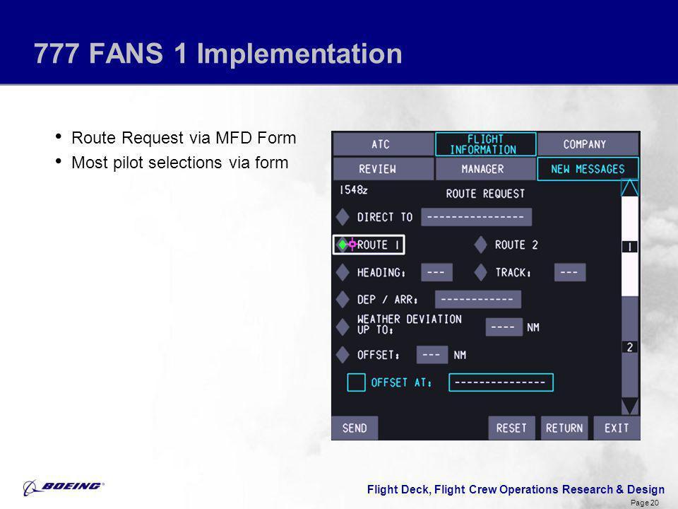 Flight Deck, Flight Crew Operations Research & Design Page 20 777 FANS 1 Implementation Route Request via MFD Form Most pilot selections via form