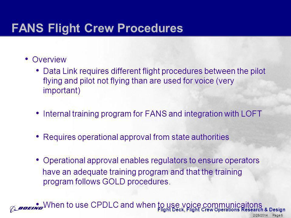 Flight Deck, Flight Crew Operations Research & Design Page 5 2/25/2014 FANS Flight Crew Procedures Overview Data Link requires different flight proced