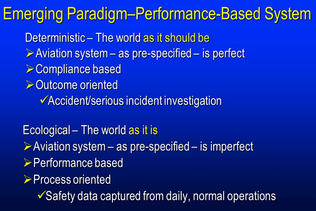 Emerging Paradigm–Performance-Based System Ecological – The world as it is Aviation system – as pre-specified – is imperfect Aviation system – as pre-