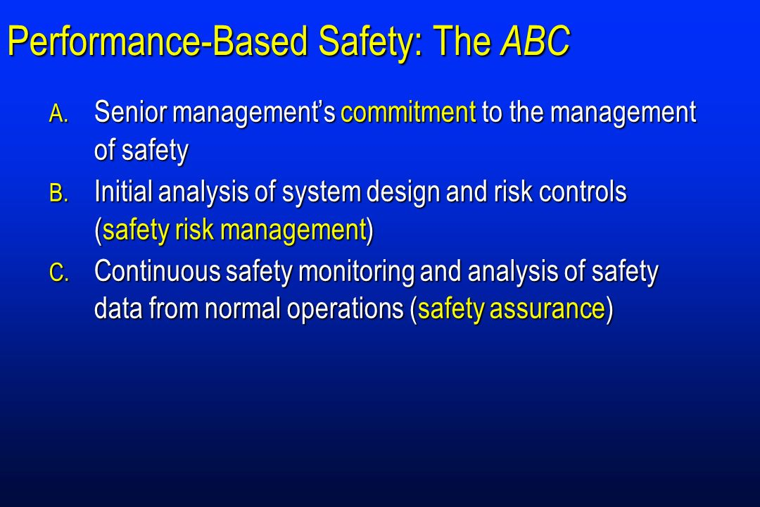 Performance-Based Safety: The ABC A. Senior managements commitment to the management of safety B. Initial analysis of system design and risk controls