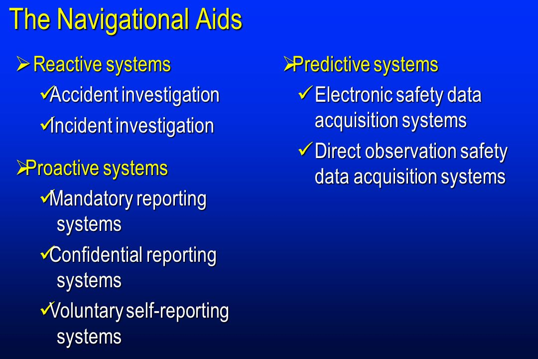 Safety Data Systems and Levels of Intervention Baseline performance Practical drift Operational performance organization Predictive ProactiveReactiveHighly efficientVery efficient Efficient Safety management levels Reactive Desirable management level Inefficient ASR Surveys Audits ASRMOR Accident and incident reports H i g h M i d d l e L o w Hazards FDA Directobservationsystems