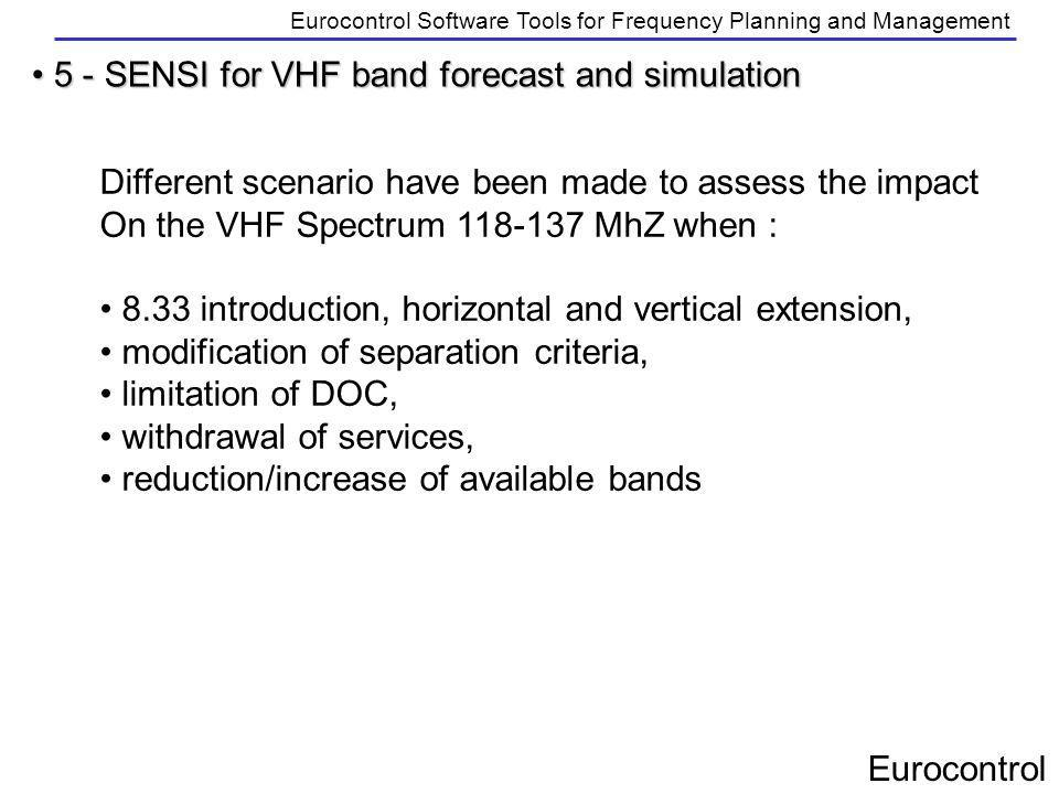 Eurocontrol Eurocontrol Software Tools for Frequency Planning and Management 5 - SENSI for VHF band forecast and simulation 5 - SENSI for VHF band for