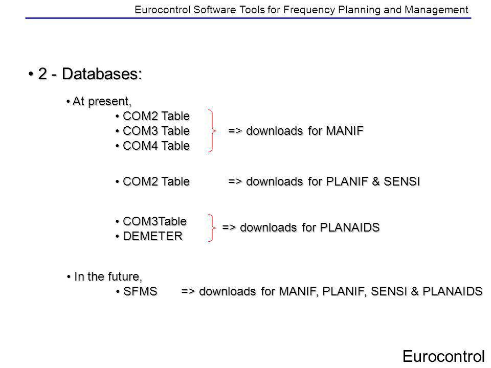 Eurocontrol Eurocontrol Software Tools for Frequency Planning and Management 2 - Databases: 2 - Databases: At present, At present, COM2 Table COM2 Tab