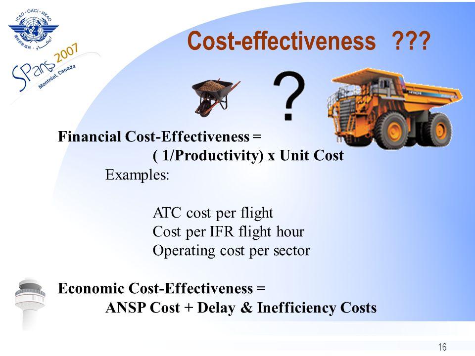 16 Cost-effectiveness ??? Financial Cost-Effectiveness = ( 1/Productivity) x Unit Cost Examples: ATC cost per flight Cost per IFR flight hour Operatin